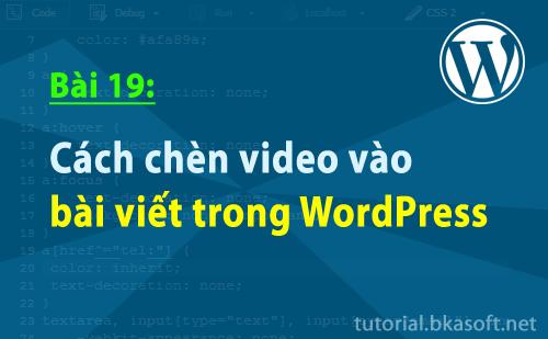 Bài 19: Cách chèn Video vào bài viết trong WordPress