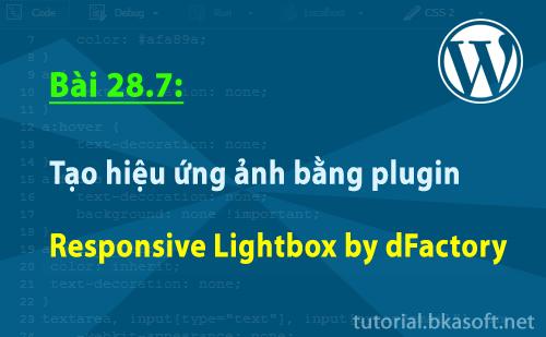 Bài 28.7: Tạo hiệu ứng ảnh bằng plugin Responsive Lightbox by dFactory