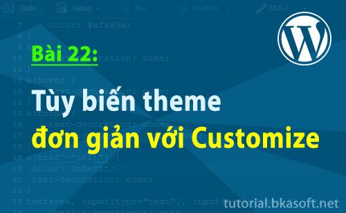Bài 22: Tùy biến theme đơn giản với Customize