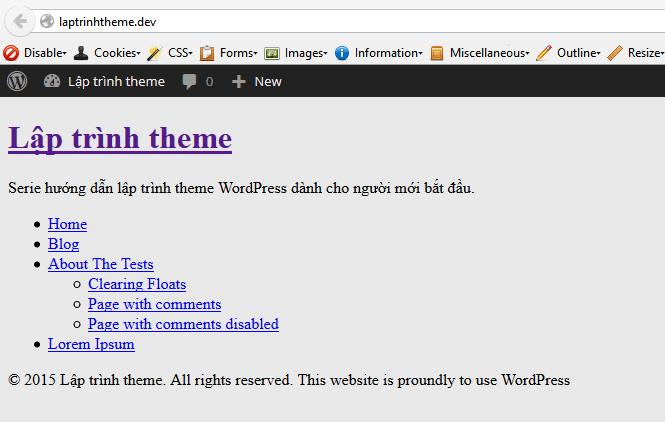 Ảnh. [Lập trình theme WordPress] Viết code cho footer.php