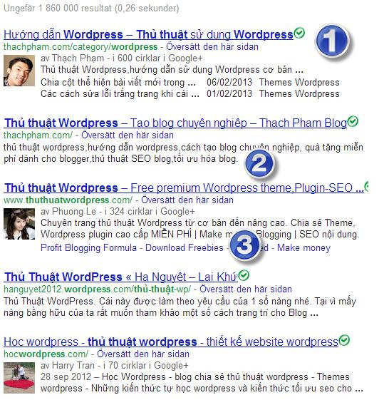 Ảnh. Thủ thuật WordPress Google