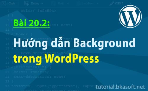 Bài 20.2: Hướng dẫn Background trong WordPress