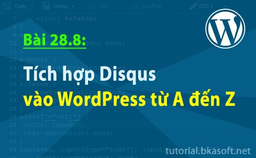 Bài 28.8: Tích hợp Disqus vào WordPress từ A đến Z