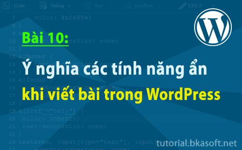 Bài 10: Ý nghĩa các tính năng ẩn khi viết bài trong WordPress